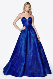 Long Strapless Glitter Dress with Corset Back by Cinderella Divine CB0033-Long Formal Dresses-ABC Fashion