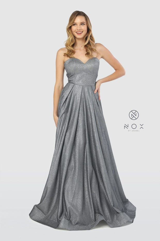 Long Strapless Glitter Dress with Corset Back by Nox Anabel T258-Long Formal Dresses-ABC Fashion