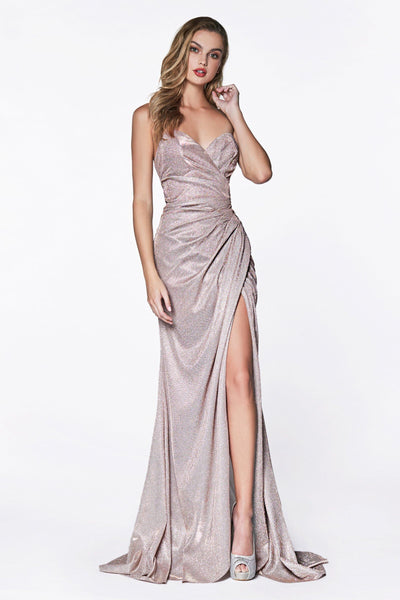 Long Strapless Glitter Dress with Leg Slit by Cinderella Divine CF331-Long Formal Dresses-ABC Fashion