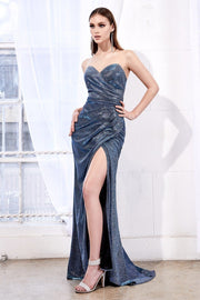 Long Strapless Glitter Dress with Slit by Cinderella Divine CF331