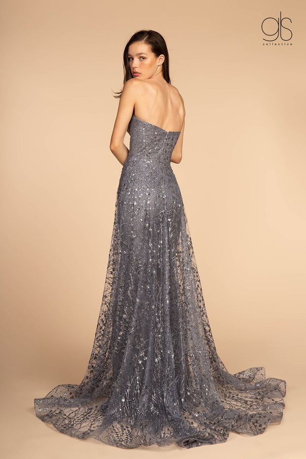 Long Strapless Glitter Print Dress by Elizabeth K GL2587-Long Formal Dresses-ABC Fashion