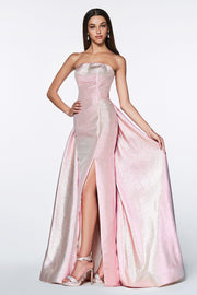 Long Strapless Iridescent Glitter Dress by Cinderella Divine CR834-Long Formal Dresses-ABC Fashion