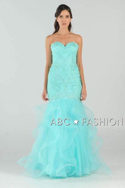 Long Strapless Mermaid Dress with Ruffled Skirt by Poly USA 8198-Long Formal Dresses-ABC Fashion