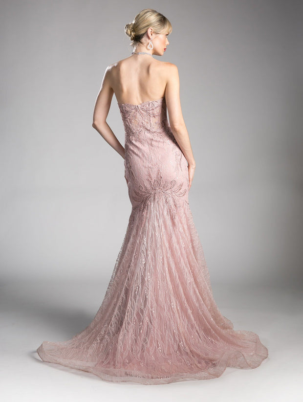 Long Strapless Mermaid Lace Dress by Cinderella Divine KC19010-Long Formal Dresses-ABC Fashion