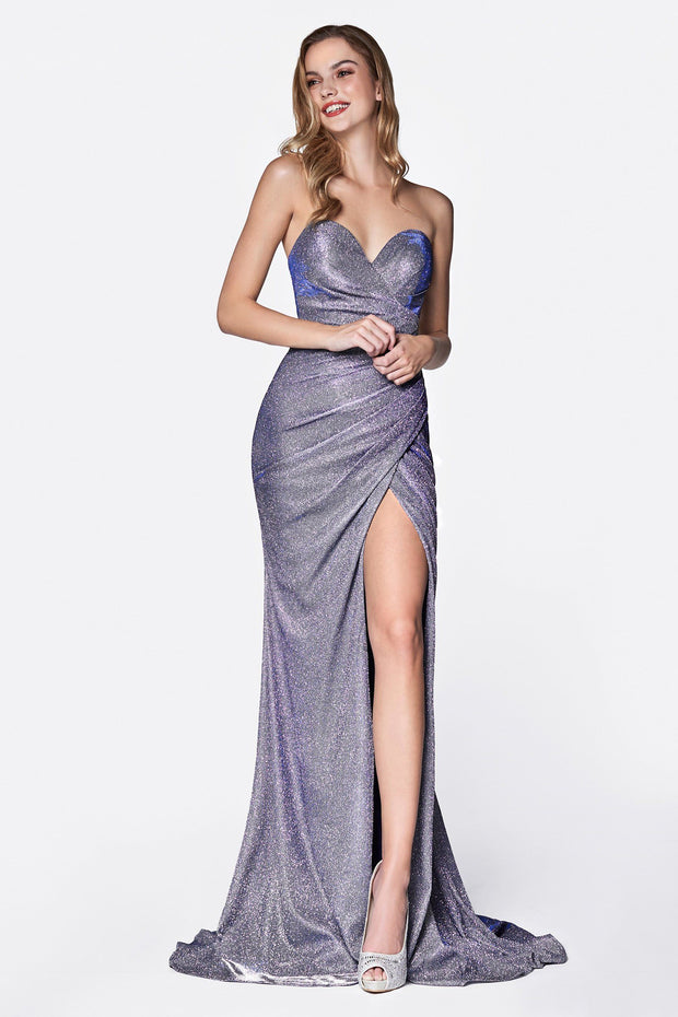 Long Strapless Metallic Glitter Dress by Cinderella Divine CE0019-Long Formal Dresses-ABC Fashion