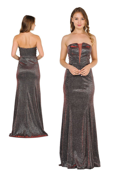 Long Strapless Metallic Glitter Dress by Poly USA 8490-Long Formal Dresses-ABC Fashion