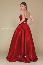 Long Strapless Satin Dress with Corset Back by Nox Anabel Y154-Long Formal Dresses-ABC Fashion