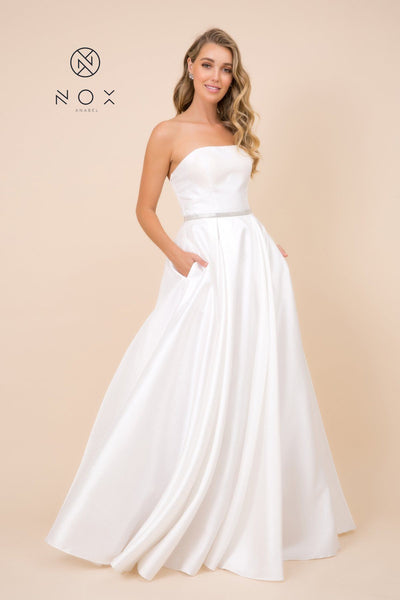 Long Strapless Satin Dress with Corset Back by Nox Anabel Y154