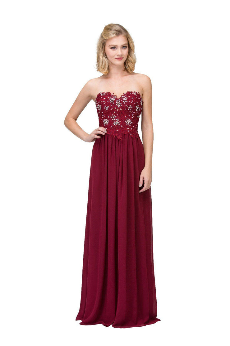 Long Strapless Sweetheart Dress with Beaded Appliques by Star Box 6197-Long Formal Dresses-ABC Fashion