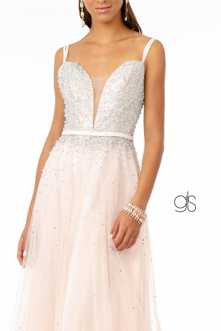 Long Sweetheart Dress with Beaded Bodice by Elizabeth K GL2892