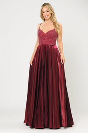 Long Sweetheart Dress with Beaded Bodice by Poly USA 8674