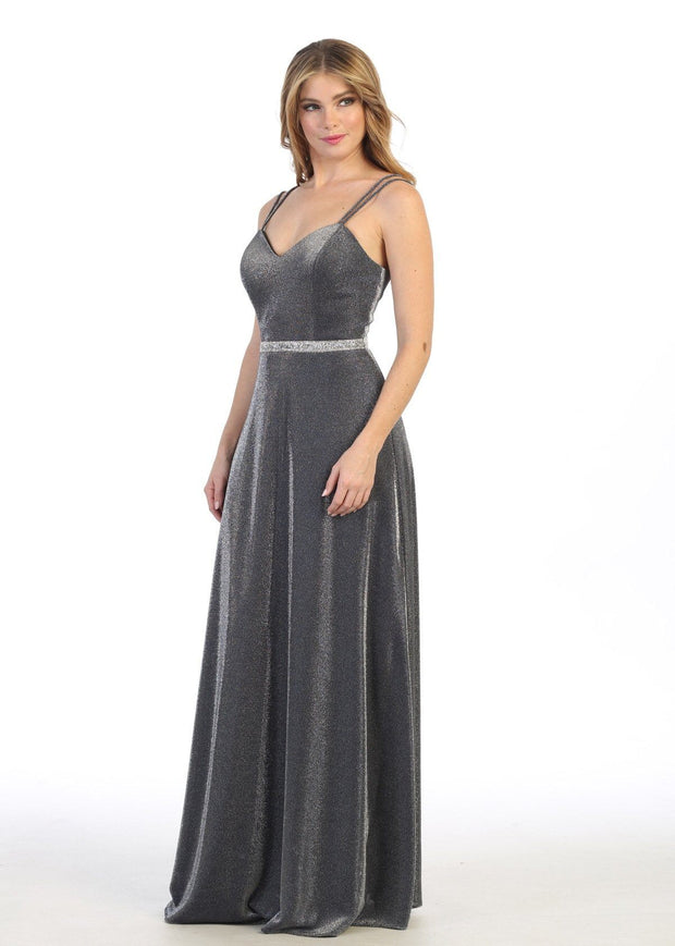 Long Sweetheart Metallic Dress with Pockets by Celavie 6502L
