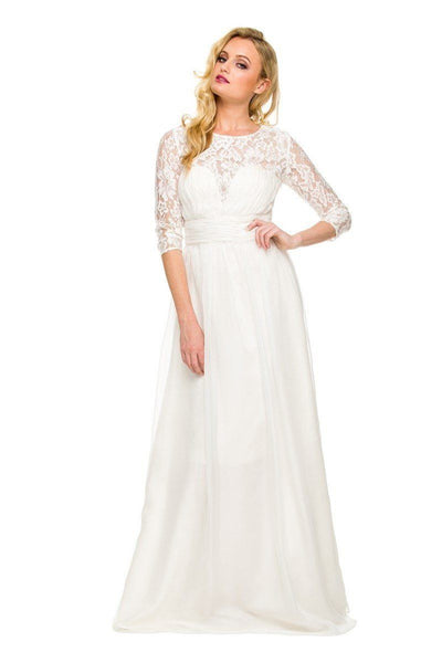 Long Sweetheart Ruched Dress with Lace Sleeves by Nox Anabel 5118-Long Formal Dresses-ABC Fashion