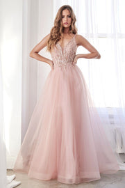 Beaded Long Tulle Dress by Cinderella Divine CD0154