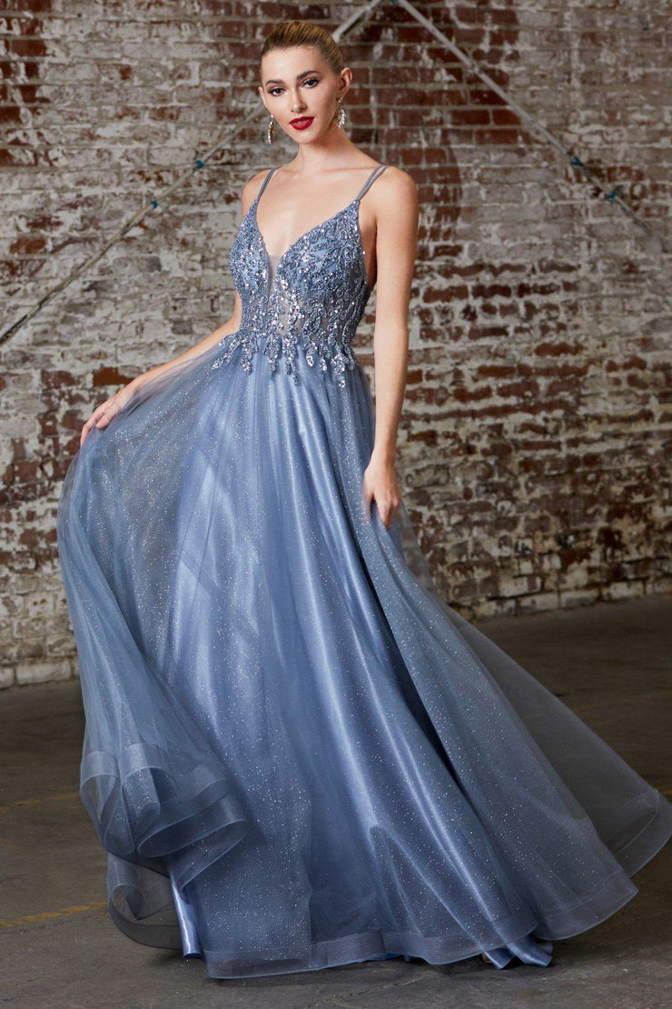 Long Tulle Dress with Beaded Bodice by Cinderella Divine CD0154