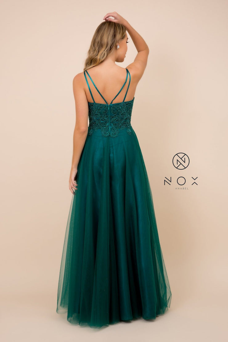 Long Tulle Embroidered Bodice Dress by Nox Anabel R357