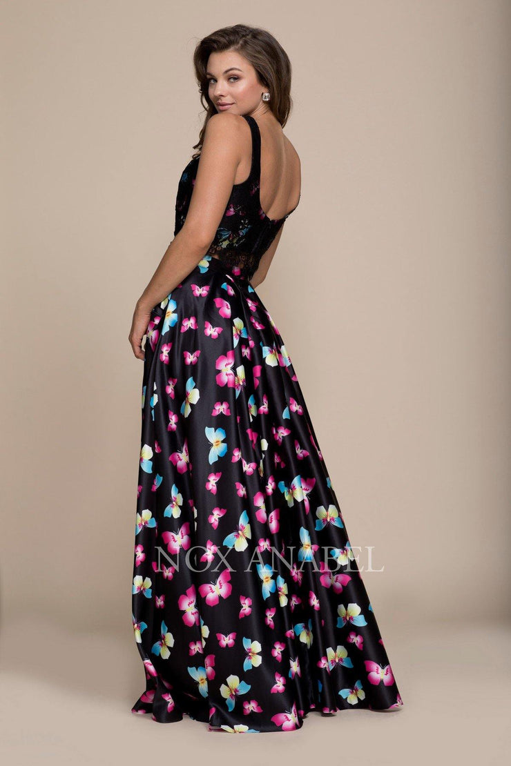Long Two-Piece Black Dress with Butterfly Print by Nox Anabel 8336-Long Formal Dresses-ABC Fashion
