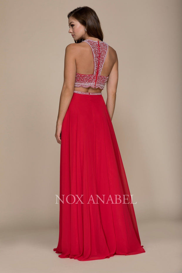 Long Two-Piece Dress with Beaded Crop Top by Nox Anabel G095-Long Formal Dresses-ABC Fashion