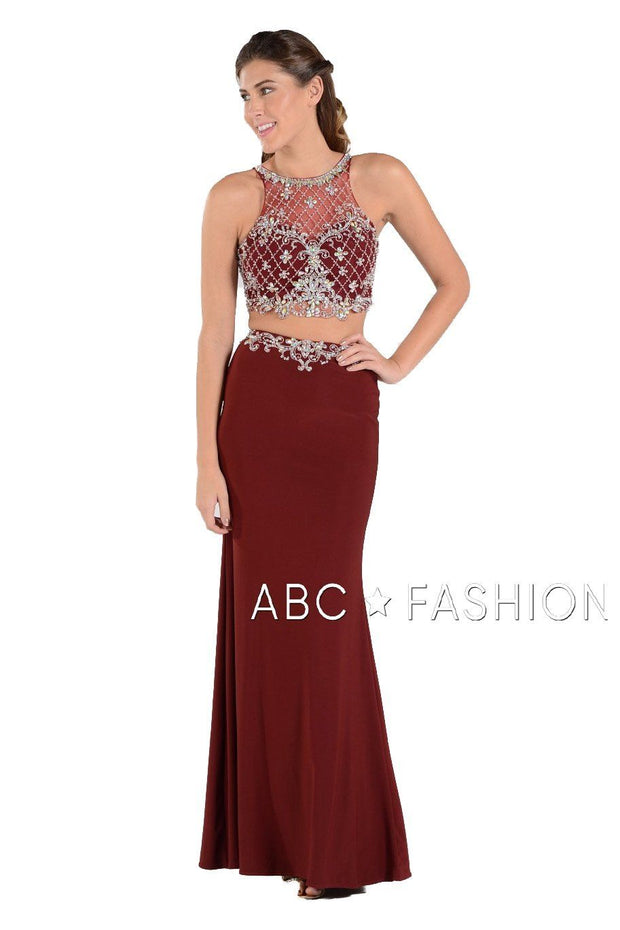 Long Two-Piece Dress with Beaded Crop Top by Poly USA 7926-Long Formal Dresses-ABC Fashion