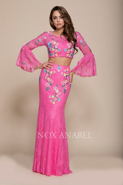 Long Two Piece Dress with Embroidered Lace by Nox Anabel 8288-Long Formal Dresses-ABC Fashion