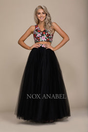 Long Two-Piece Dress with Floral Embroidered Top by Nox Anabel Q012-Long Formal Dresses-ABC Fashion