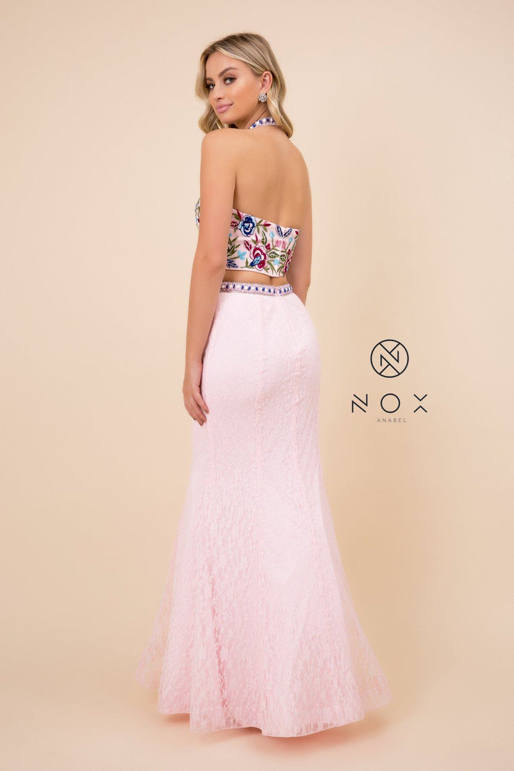 Long Two-Piece Dress with Floral Embroidery by Nox Anabel 8262