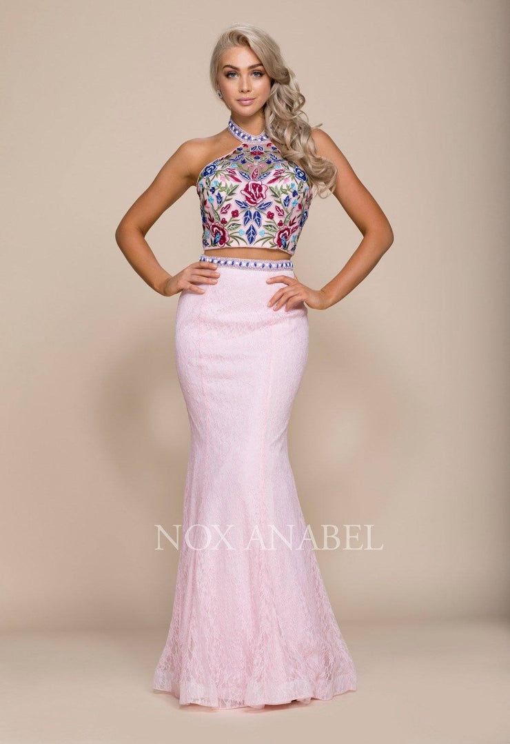 Long Two-Piece Dress with Floral Embroidery by Nox Anabel 8262-Long Formal Dresses-ABC Fashion