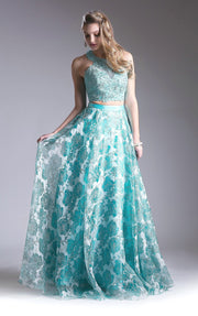 Long Two Piece Dress with Floral Print Skirt by Cinderella Divine KD099-Long Formal Dresses-ABC Fashion