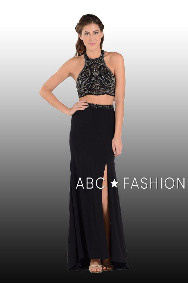 Long Two-Piece Dress with Halter Crop Top by Poly USA 7890-Long Formal Dresses-ABC Fashion