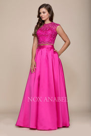 Long Two-Piece Dress with Lace Crop Top by Nox Anabel Q104-Long Formal Dresses-ABC Fashion