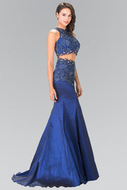 Long Two-Piece Dress with Lace Embroidery by Elizabeth K GL2291-Long Formal Dresses-ABC Fashion
