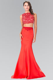 Long Two-Piece Dress with Lace Top by Elizabeth K GL2281-Long Formal Dresses-ABC Fashion