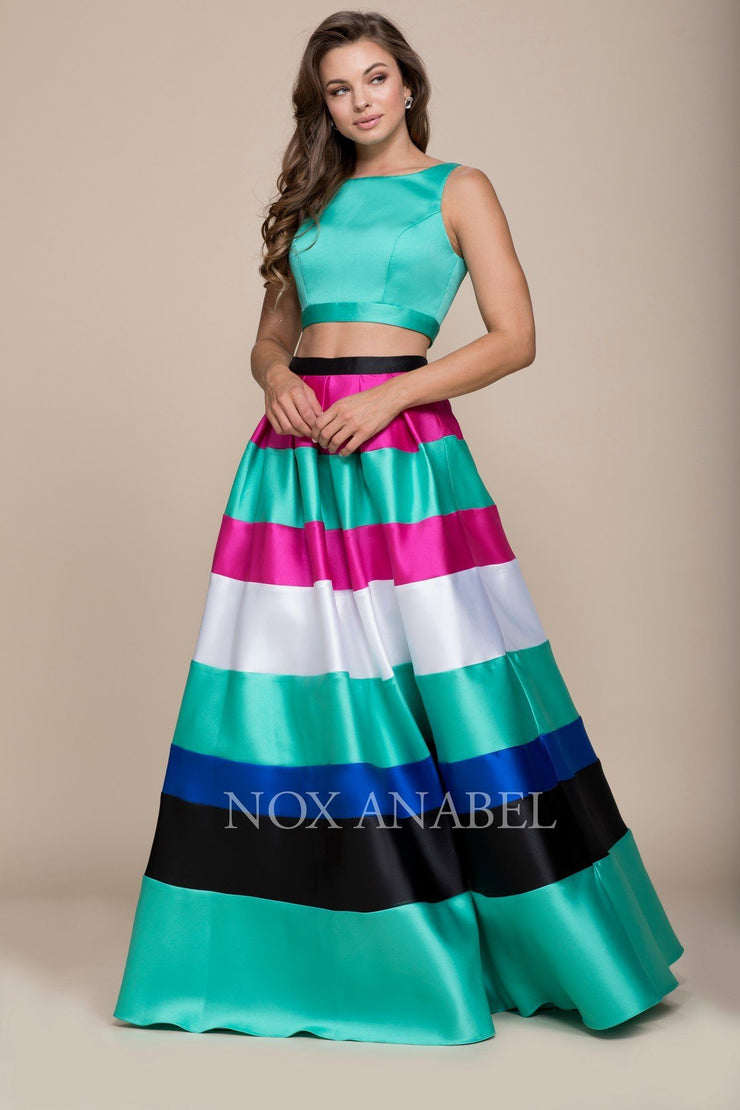 Long Two-Piece Dress with Multi-Color Striped Skirt by Nox Anabel 8335-Long Formal Dresses-ABC Fashion