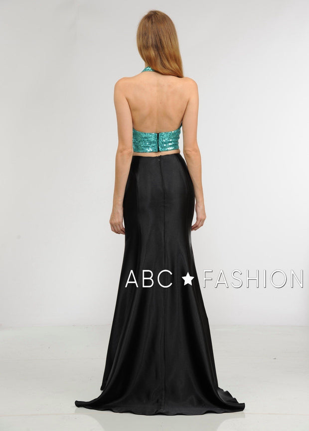 Long Two-Piece Dress with Sequin Crop Top by Poly USA 8294-Long Formal Dresses-ABC Fashion