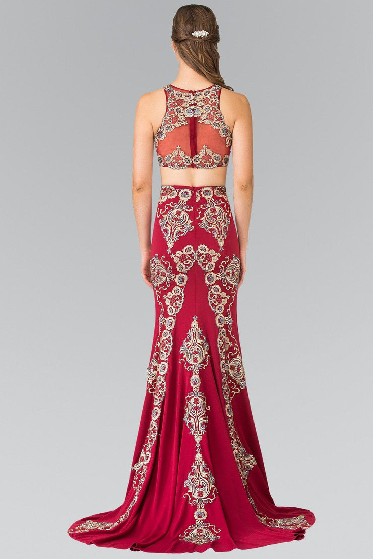 Long Two-Piece Embroidered Illusion Dress by Elizabeth K GL2296-Long Formal Dresses-ABC Fashion