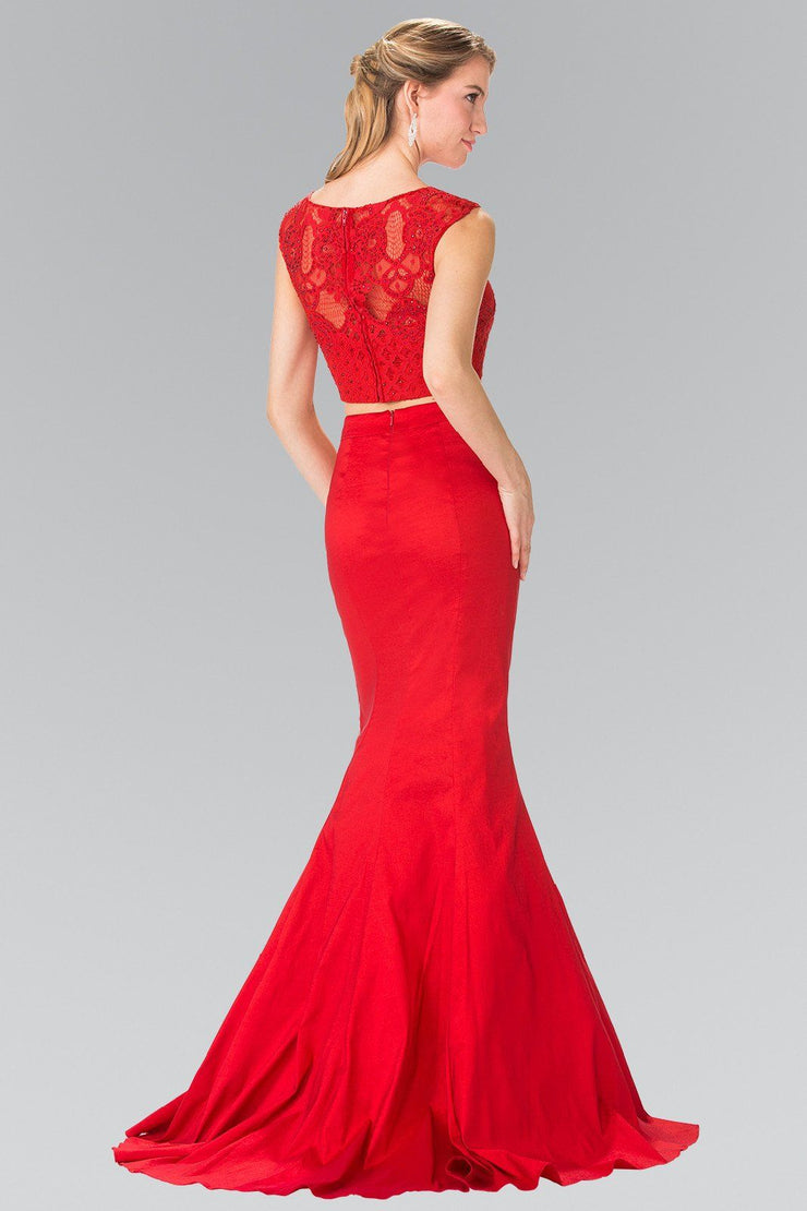 Long Two-Piece Mermaid Dress with Lace Top by Elizabeth K GL2354-Long Formal Dresses-ABC Fashion