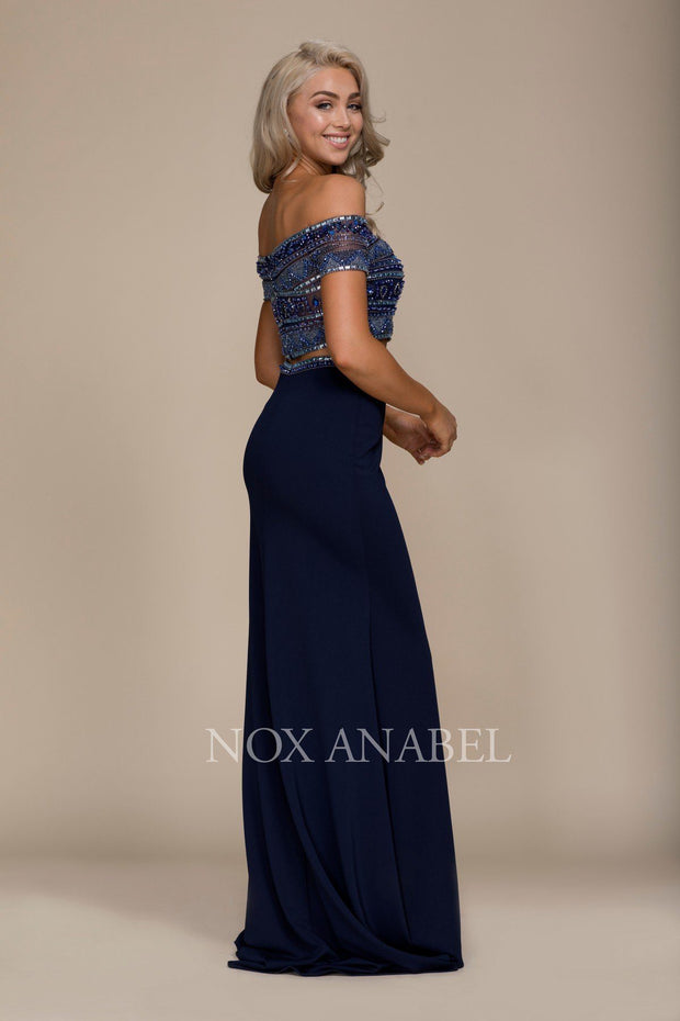 Long Two-Piece Off the Shoulder Navy Dress by Nox Anabel C082-Long Formal Dresses-ABC Fashion