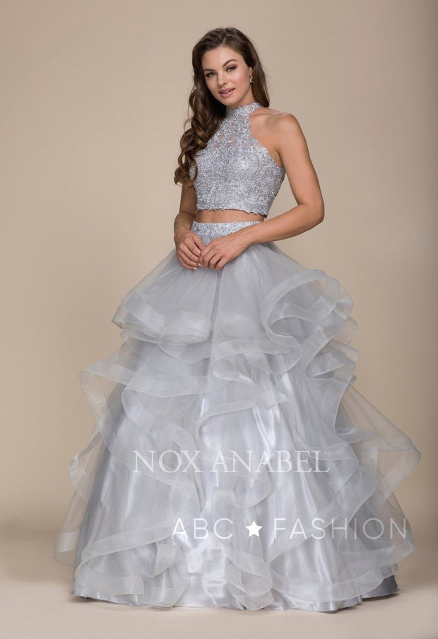 Long Two-Piece Ruffled Dress with Lace Top by Nox Anabel A063-Long Formal Dresses-ABC Fashion