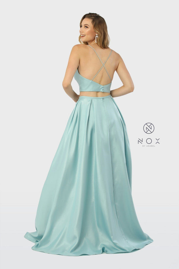 Long Two-Piece Satin Dress with Pockets by Nox Anabel E161-Long Formal Dresses-ABC Fashion
