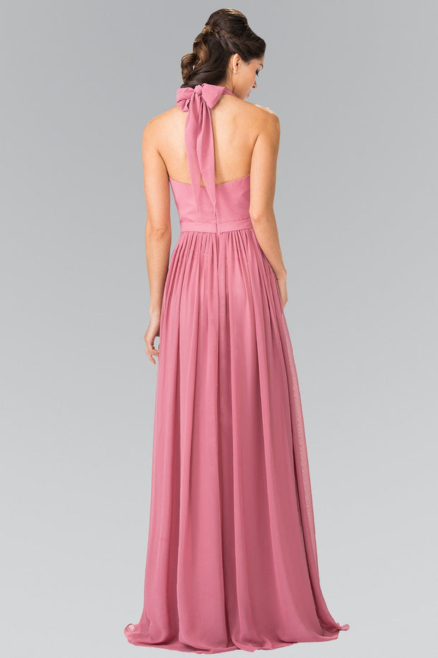 Long V-Neck Chiffon Halter Dress by Elizabeth K GL2362-Long Formal Dresses-ABC Fashion