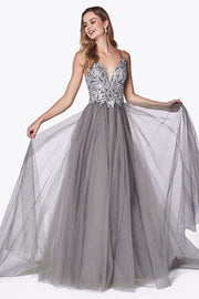 Long V-Neck Dress with Appliqued Top by Cinderella Divine CD0128-Long Formal Dresses-ABC Fashion