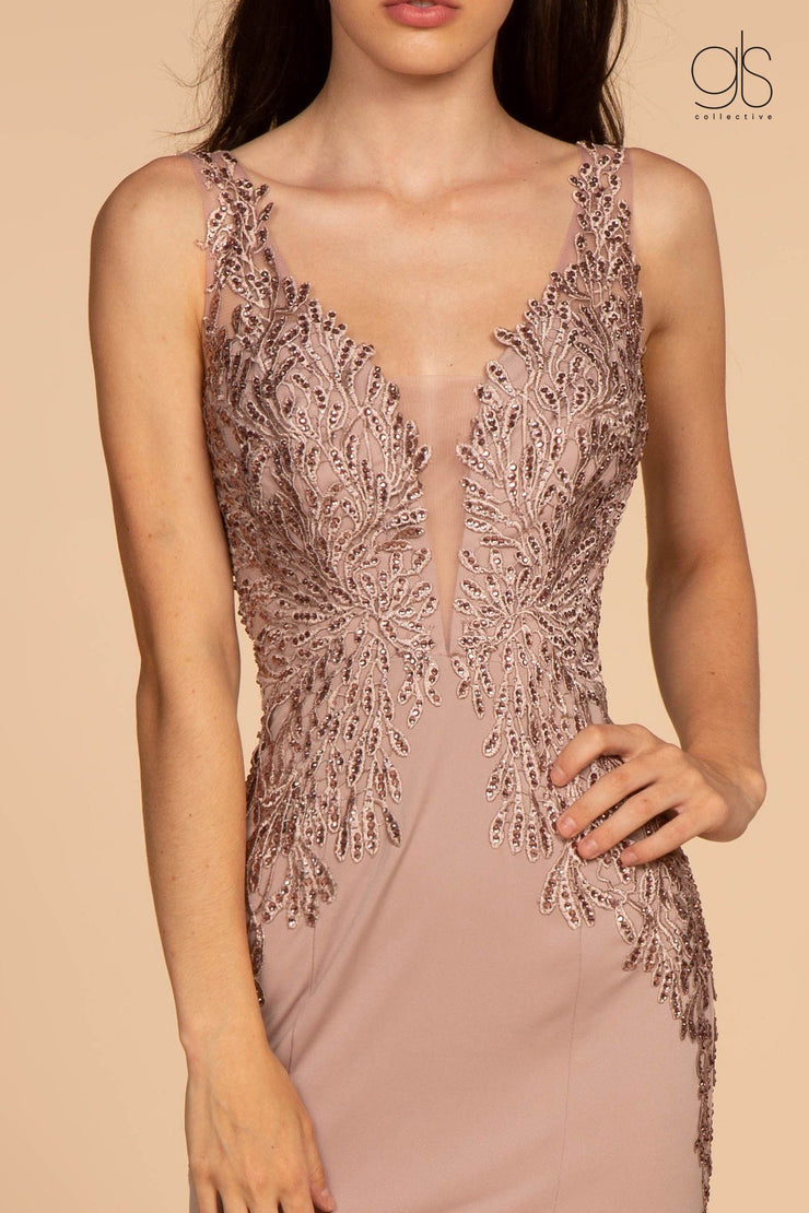 Long V-Neck Dress with Embroidered Bodice by Elizabeth K GL2614-Long Formal Dresses-ABC Fashion