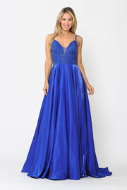 Long V-Neck Dress with Embroidered Bodice by Poly USA 8576