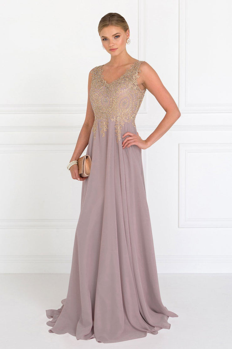Long V-Neck Dress with Lace Appliques by Elizabeth K GL2311-Long Formal Dresses-ABC Fashion
