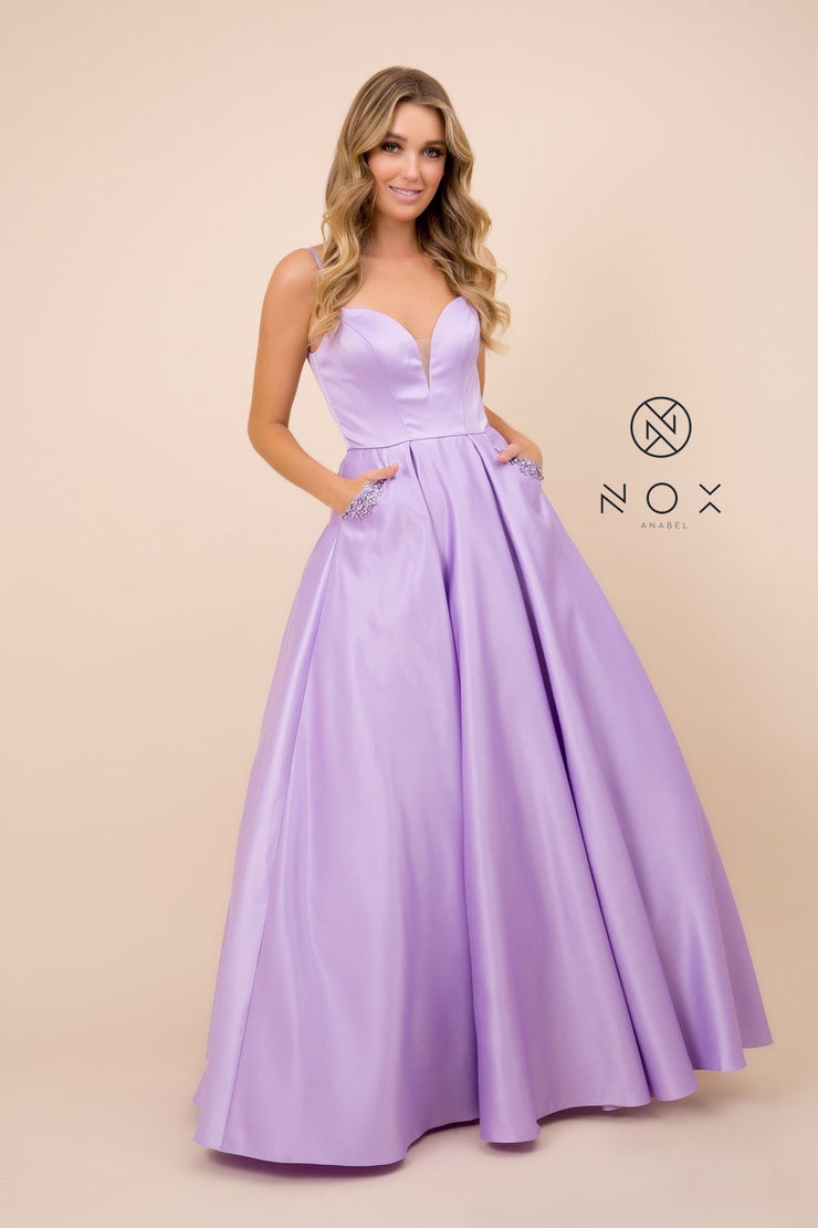 Long V-Neck Dress with Strappy Back by Nox Anabel N308