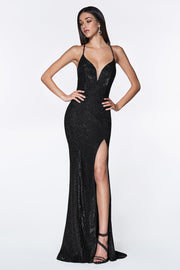 Long V-Neck Glitter Dress with Corset Back by Cinderella Divine CJ512-Long Formal Dresses-ABC Fashion