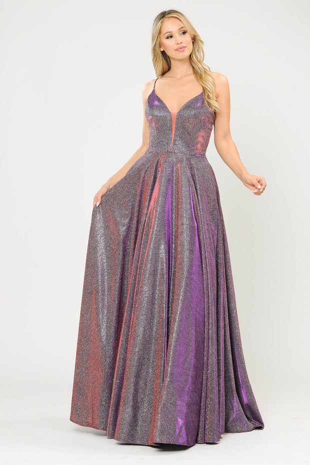 Long V-Neck Glitter Dress with Corset Back by Poly USA 8556