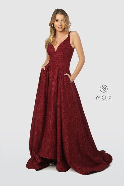 Long V-Neck Glitter Dress with Pleated A-line Skirt by Nox Anabel R218-Long Formal Dresses-ABC Fashion