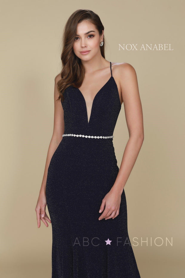 Long V-Neck Glitter Dress with Strappy Back by Nox Anabel N160-Long Formal Dresses-ABC Fashion