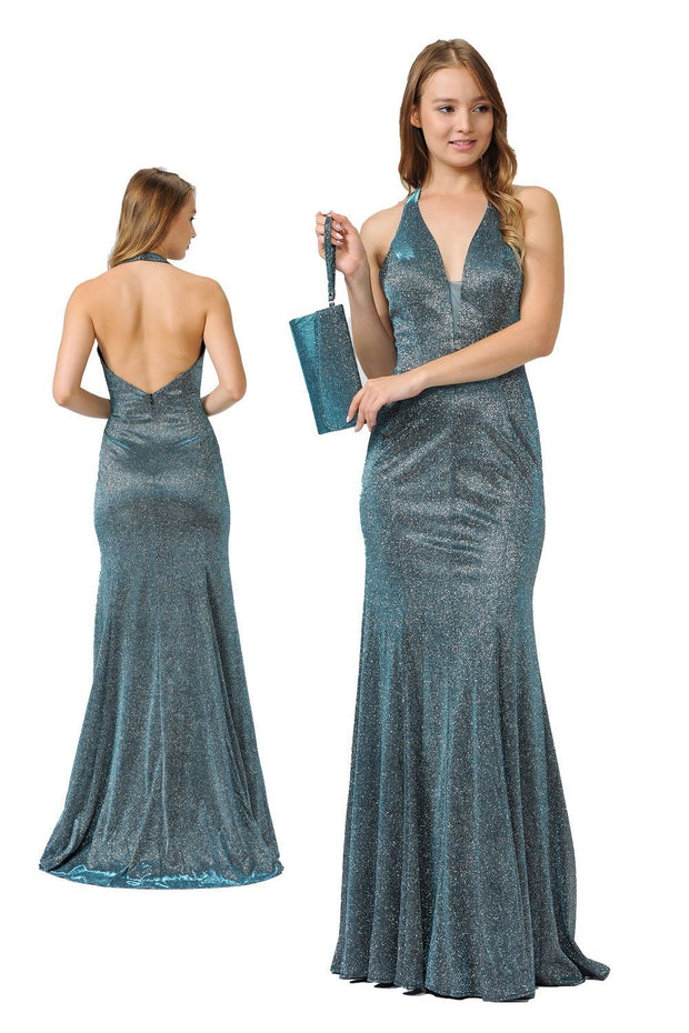 Long V-Neck Glitter Halter Dress with Open Back by Poly USA 8384-Long Formal Dresses-ABC Fashion